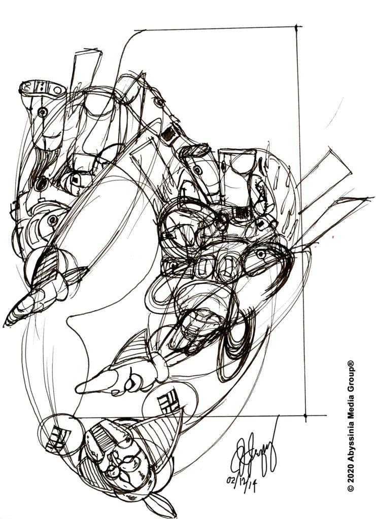 O.S,E.I Ship Transformation Sketches
